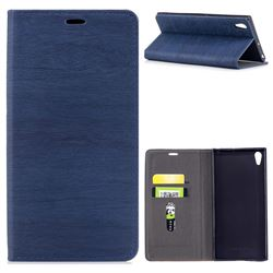 Tree Bark Pattern Automatic suction Leather Wallet Case for Sony Xperia XA1 Ultra - Blue