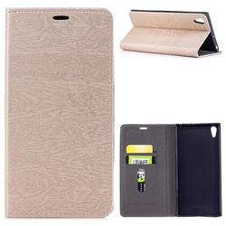 Tree Bark Pattern Automatic suction Leather Wallet Case for Sony Xperia XA1 Ultra - Champagne Gold