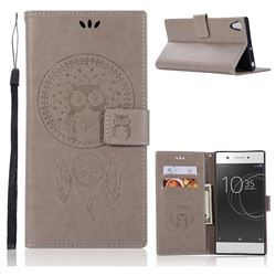 Intricate Embossing Owl Campanula Leather Wallet Case for Sony Xperia XA1 Ultra - Grey