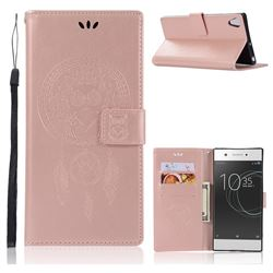 Intricate Embossing Owl Campanula Leather Wallet Case for Sony Xperia XA1 Ultra - Rose Gold