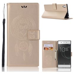 Intricate Embossing Owl Campanula Leather Wallet Case for Sony Xperia XA1 Ultra - Champagne