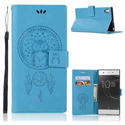 Intricate Embossing Owl Campanula Leather Wallet Case for Sony Xperia XA1 Ultra - Blue