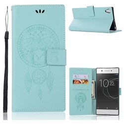 Intricate Embossing Owl Campanula Leather Wallet Case for Sony Xperia XA1 Ultra - Green