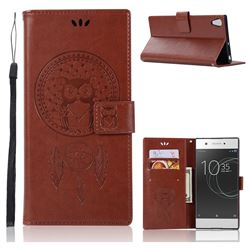 Intricate Embossing Owl Campanula Leather Wallet Case for Sony Xperia XA1 Ultra - Brown