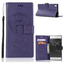 Intricate Embossing Owl Campanula Leather Wallet Case for Sony Xperia XA1 Ultra - Purple