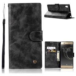 Luxury Retro Leather Wallet Case for Sony Xperia XA1 Ultra - Black