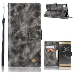Luxury Retro Leather Wallet Case for Sony Xperia XA1 Ultra - Gray