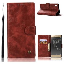 Luxury Retro Leather Wallet Case for Sony Xperia XA1 Ultra - Wine Red