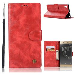 Luxury Retro Leather Wallet Case for Sony Xperia XA1 Ultra - Red