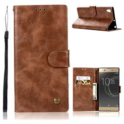 Luxury Retro Leather Wallet Case for Sony Xperia XA1 Ultra - Brown