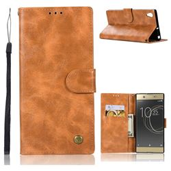 Luxury Retro Leather Wallet Case for Sony Xperia XA1 Ultra - Golden
