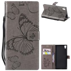Embossing 3D Butterfly Leather Wallet Case for Sony Xperia XA1 Ultra - Gray