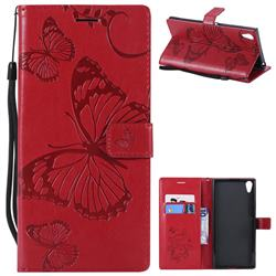 Embossing 3D Butterfly Leather Wallet Case for Sony Xperia XA1 Ultra - Red