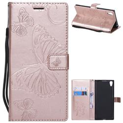 Embossing 3D Butterfly Leather Wallet Case for Sony Xperia XA1 Ultra - Rose Gold