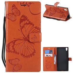 Embossing 3D Butterfly Leather Wallet Case for Sony Xperia XA1 Ultra - Orange