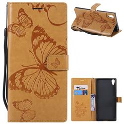 Embossing 3D Butterfly Leather Wallet Case for Sony Xperia XA1 Ultra - Yellow
