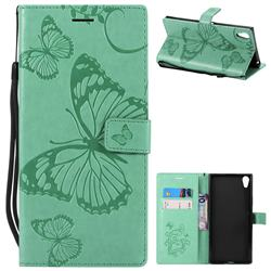 Embossing 3D Butterfly Leather Wallet Case for Sony Xperia XA1 Ultra - Green