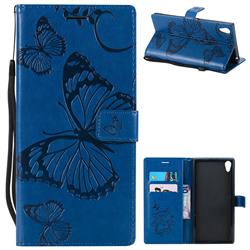 Embossing 3D Butterfly Leather Wallet Case for Sony Xperia XA1 Ultra - Blue