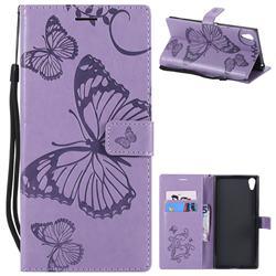 Embossing 3D Butterfly Leather Wallet Case for Sony Xperia XA1 Ultra - Purple
