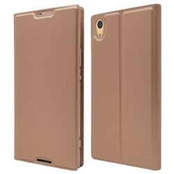 Ultra Slim Card Magnetic Automatic Suction Leather Wallet Case for Sony Xperia XA1 Ultra - Rose Gold