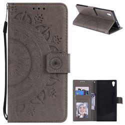 Intricate Embossing Datura Leather Wallet Case for Sony Xperia XA1 Ultra - Gray