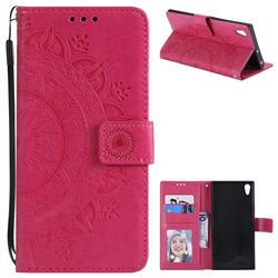 Intricate Embossing Datura Leather Wallet Case for Sony Xperia XA1 Ultra - Rose Red