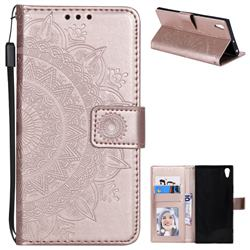 Intricate Embossing Datura Leather Wallet Case for Sony Xperia XA1 Ultra - Rose Gold