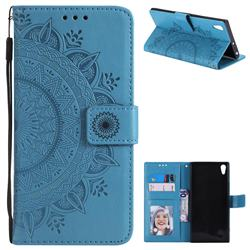Intricate Embossing Datura Leather Wallet Case for Sony Xperia XA1 Ultra - Blue