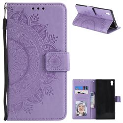Intricate Embossing Datura Leather Wallet Case for Sony Xperia XA1 Ultra - Purple