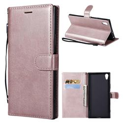 Retro Greek Classic Smooth PU Leather Wallet Phone Case for Sony Xperia XA1 Ultra - Rose Gold