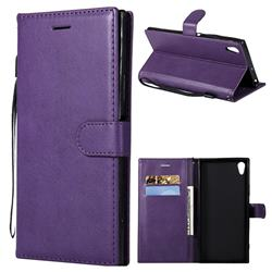 Retro Greek Classic Smooth PU Leather Wallet Phone Case for Sony Xperia XA1 Ultra - Purple