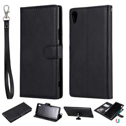 Retro Greek Detachable Magnetic PU Leather Wallet Phone Case for Sony Xperia XA1 Ultra - Black
