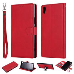 Retro Greek Detachable Magnetic PU Leather Wallet Phone Case for Sony Xperia XA1 Ultra - Red