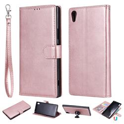 Retro Greek Detachable Magnetic PU Leather Wallet Phone Case for Sony Xperia XA1 Ultra - Rose Gold