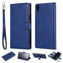 Retro Greek Detachable Magnetic PU Leather Wallet Phone Case for Sony Xperia XA1 Ultra - Blue
