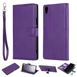Retro Greek Detachable Magnetic PU Leather Wallet Phone Case for Sony Xperia XA1 Ultra - Purple