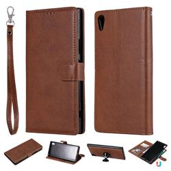 Retro Greek Detachable Magnetic PU Leather Wallet Phone Case for Sony Xperia XA1 Ultra - Brown