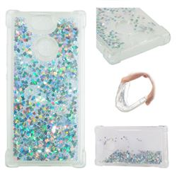 Dynamic Liquid Glitter Sand Quicksand Star TPU Case for Sony Xperia XA2 - Silver