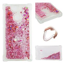 Dynamic Liquid Glitter Sand Quicksand Star TPU Case for Sony Xperia XA2 - Diamond Rose