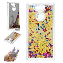 Glitter Sand Mirror Quicksand Dynamic Liquid Star TPU Case for Sony Xperia XA2 - Yellow