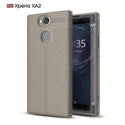 Luxury Auto Focus Litchi Texture Silicone TPU Back Cover for Sony Xperia XA2 - Gray