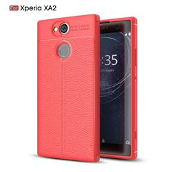 Luxury Auto Focus Litchi Texture Silicone TPU Back Cover for Sony Xperia XA2 - Red