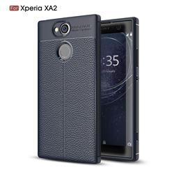 Luxury Auto Focus Litchi Texture Silicone TPU Back Cover for Sony Xperia XA2 - Dark Blue