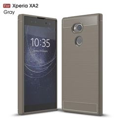 Luxury Carbon Fiber Brushed Wire Drawing Silicone TPU Back Cover for Sony Xperia XA2 - Gray
