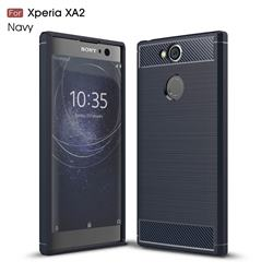 Luxury Carbon Fiber Brushed Wire Drawing Silicone TPU Back Cover for Sony Xperia XA2 - Navy