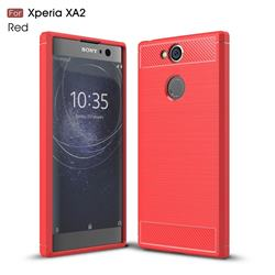 Luxury Carbon Fiber Brushed Wire Drawing Silicone TPU Back Cover for Sony Xperia XA2 - Red