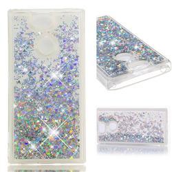 Dynamic Liquid Glitter Quicksand Sequins TPU Phone Case for Sony Xperia XA2 - Silver