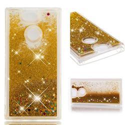 Dynamic Liquid Glitter Quicksand Sequins TPU Phone Case for Sony Xperia XA2 - Golden