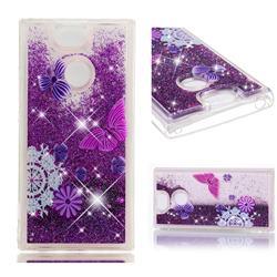 Purple Flower Butterfly Dynamic Liquid Glitter Quicksand Soft TPU Case for Sony Xperia XA2