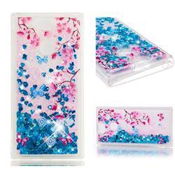 Blue Plum Blossom Dynamic Liquid Glitter Quicksand Soft TPU Case for Sony Xperia XA2
